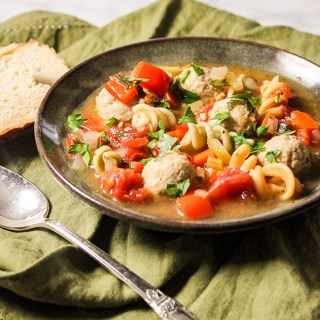 Italian Mini Chicken Meatball Soup