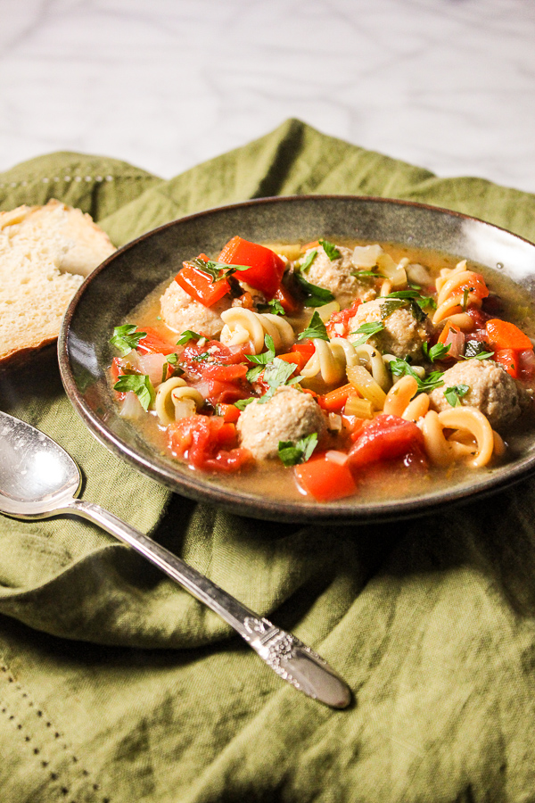 Italian Mini Chicken Meatball Soup is full of veggies and flavor with just a slight kick. It's also ready in 30 minutes, making it a perfect weeknight meal.