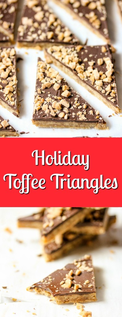 Toffee Triangles are a perfect bite of chocolate and toffee that can be whipped up in no time. They're a perfect treat for the holidays.