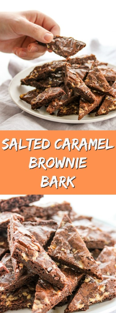 Salted Caramel Brownie Bark is an addicting treat that's crunchy and chewy all at the same time.  It's a snap to make and will disappear in no time.
