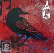 Crow Listens: 6 x 6 wood panel
