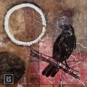 Crow Enso: 8 x 8 wood panel