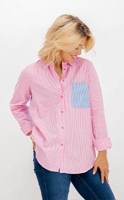 BORN---Kleo-Pink-Striped-Contrast-Shirt