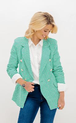 BORN---Sue-Green-Check-Printed-Blazer
