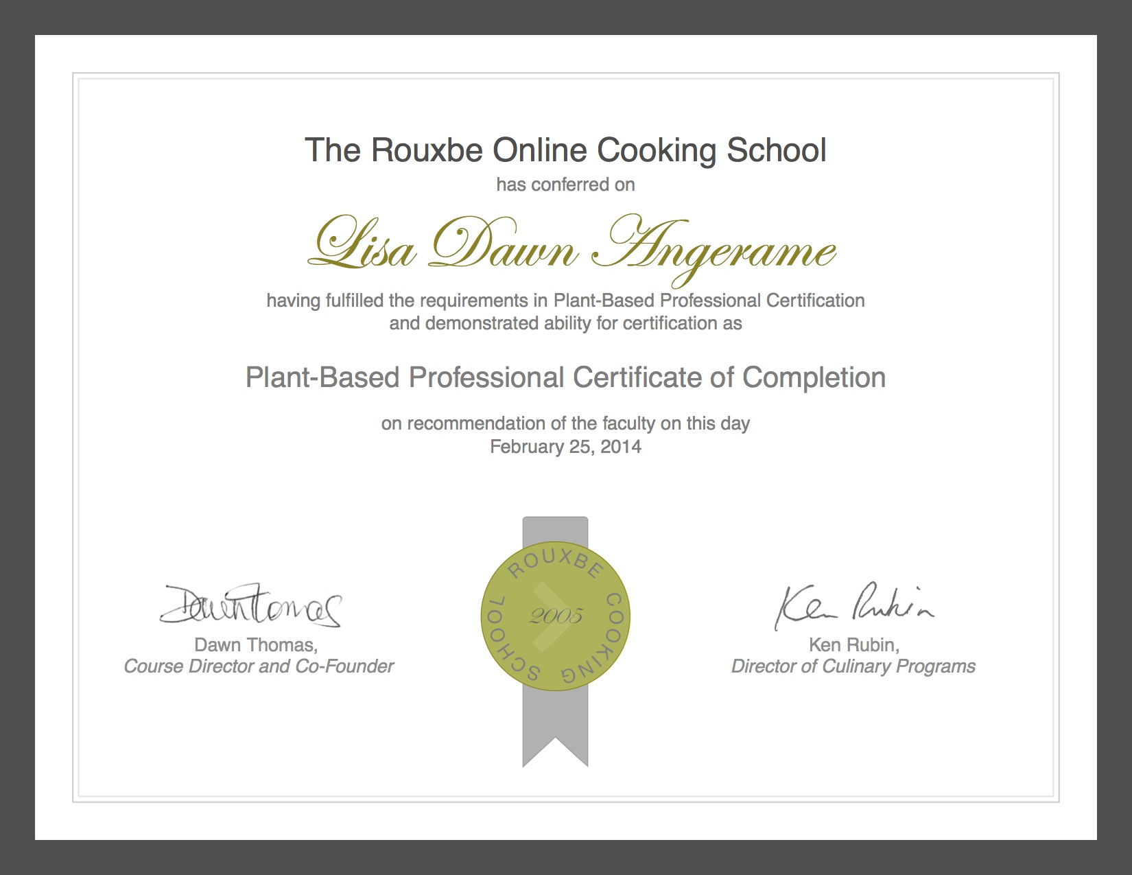 Graduation from Rouxbe.com: I am a Certified Plant-Based ...