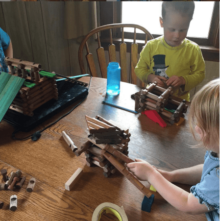 Lincoln Logs are a fun way to keep your kids busy while you blog.