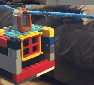 Lego zip line can keep your kids busy while you work.