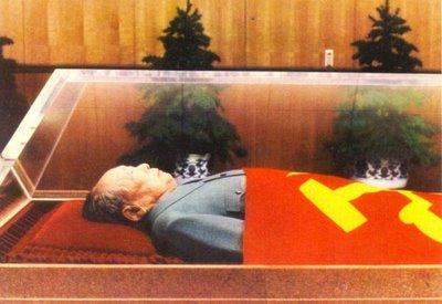 The body of Mao Zedong rests in its crystal coffin.