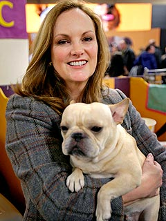 "Patty Hearst with French bulldog Shann's Legally Blonde, winner of the 2008 ""Best of Opposite Sex,"" Westminster Kennel Club"