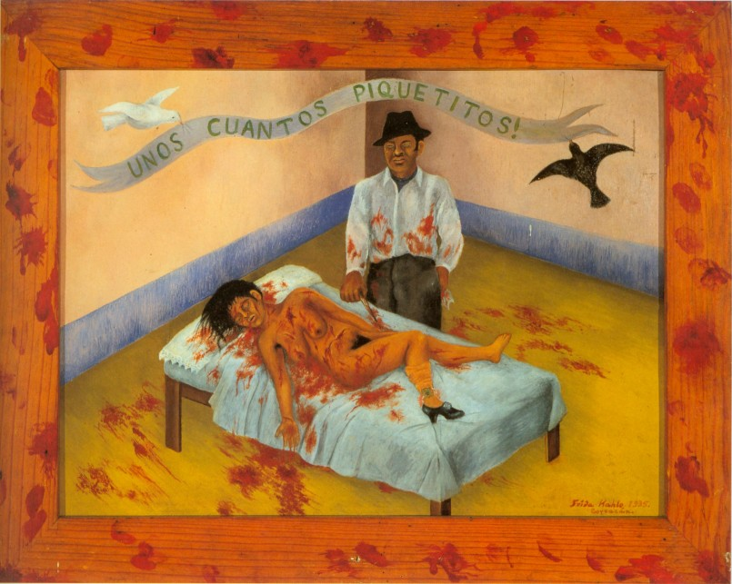 """A Few Small Nips"" by Frida Kahlo, 1935, is based on a newspaper account of a real murder. A drunk threw his girlfriend on a cot and stabbed her 20 times. When interviewed, he protested his innocence, saying, ""But I only gave her a few small nips."""