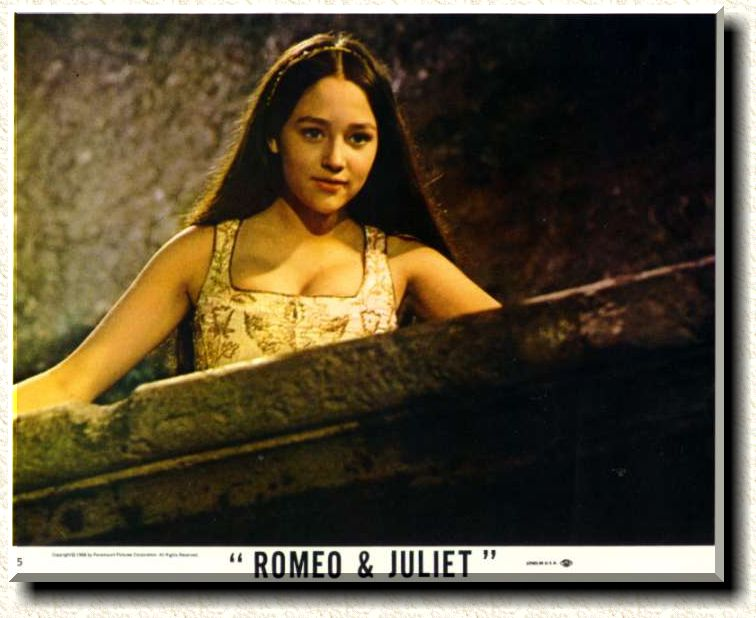 "Olivia Hussey as Juliet in the balcony scene from Zeffirelli's 1968 film, ""Romeo and Juliet."""