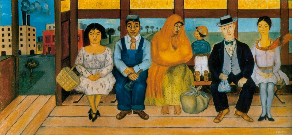 """The Bus,"" by Frida Kahlo (1929). Frida painted her recollection of the last moments aboard the bus before the terrible accident that robbed her of her health. She is pictured on the far right. Notice that she is not dressed in traditional Mexican costume. She adopted that exotic look later, after her 1929 marriage to flamboyant Mexican muralist Diego Rivera."
