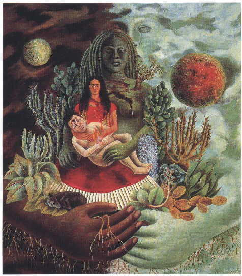 """The Love Embrace of the Universe, the Earth (Mexico), Me, Diego, and Mr. Xolotl,"" by Frida Kahlo, 1949."