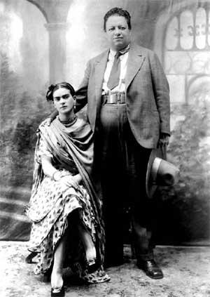 Frida Kahlo and Diego Rivera, their wedding photo, 1929