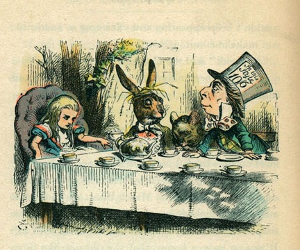 """The Mad Hatter's Tea Party."" =""Though he did not create the expression ""mad as a hatter,"" author Lewis Carroll did create the eccentric character in his book, Alice in Wonderland (illustrations by Sir John Tenniel), first released in London in 1865, coincidentally, the year Lincoln was assassination. The hatter in the book is an eccentric fellow with wacky ideas and incoherent speech, attributes attributed to hatters of the day. Mercury was used in hatmaking and its poisonous vapors caused neurological damage on the hatters."