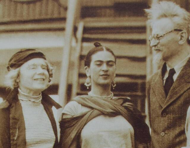Natalia and Leon Trotsky arriving in Tampico, Mexico, January 9, 1937, greeted by artist Frida Kahlo, center.