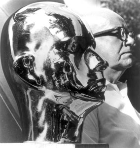 Buckminster Fuller with his portrait by Isamu Noguchi, 1929, photo by Noguchi