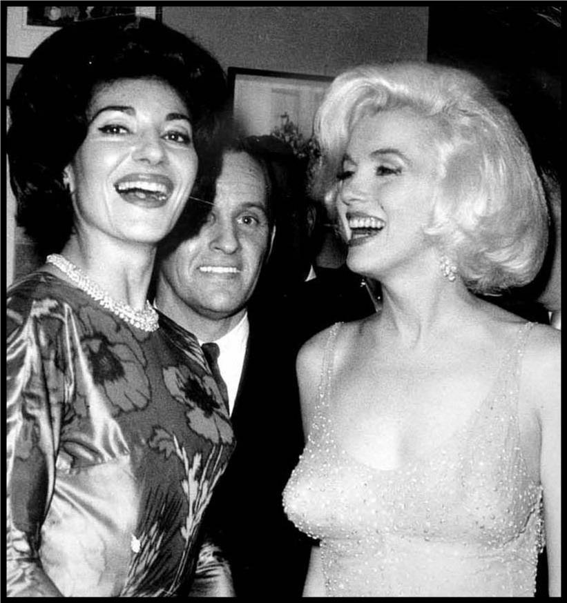 Greek opera diva Maria Callas laughs it up with Marilyn Monroe at President Kennedy's 45th birthday bash at Madison Square Garden, May  19, 1962. Marilyn Monroe was President Kennedy's lover. Maria Callas was the off-and-on lover of Aristotle Onassis, Jackie Kennedy's 2nd husband.