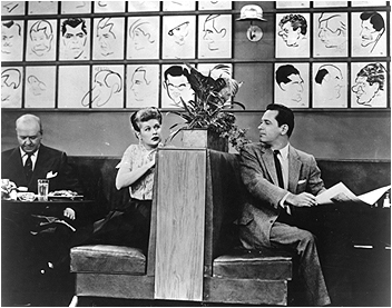 "Lucy Ricardo eyes Bill Holden at the Brown Derby in the ""I Love Lucy"" episode, ""L.A. at Last!"""