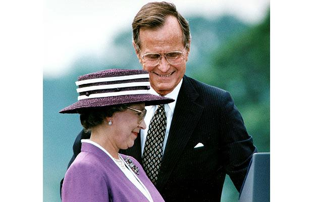The Queen with President George H. Bush in 1991
