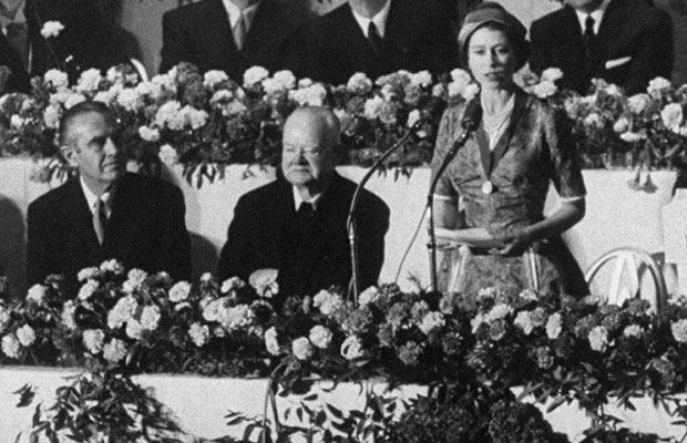 The Queen with former President Herbert Hoover in 1957