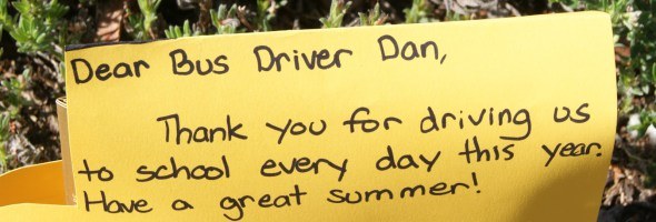 Children thanking the bus driver for being so nice.