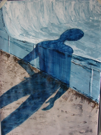 """""""Skaters I"""", 2007, acrylic on paper"""