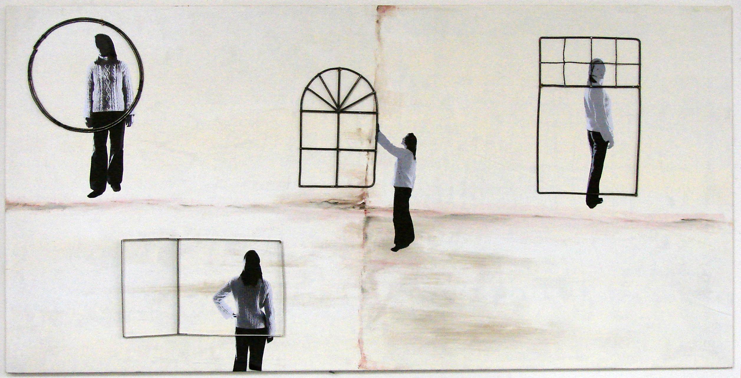 """Transition II"", 2007, steel, digital art, printer paper, acrylic paint"