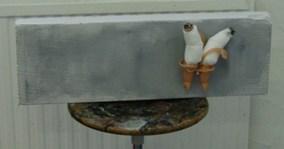 Strange toy I, 2006, pieces of a dull, beton block, acrylic paint.