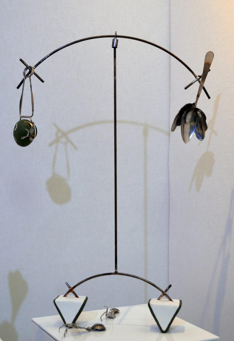 Balancing Art, 2016, Steel, scrap metal, tools and cutlery, stoneware, plaster.