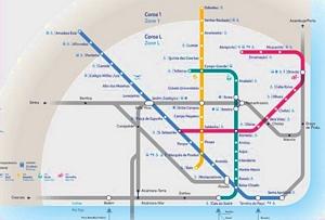 Carte réseau métro de Lisbonne