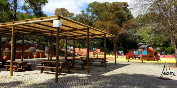 Tables de pique-nique ombragées, parc Alvito