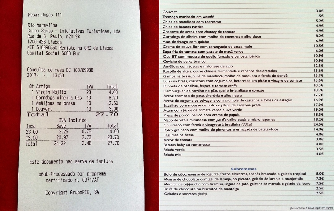 Rio maravilha addition menu