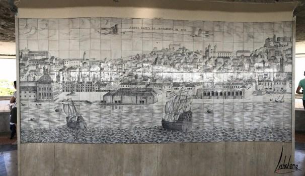 Panneau d'aulejos représentant Lisbonne avant le tremblement de terre de 1755
