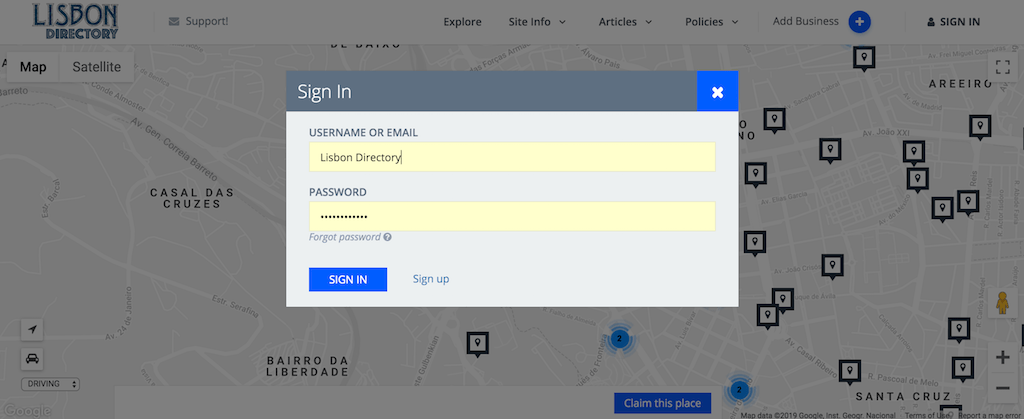 lisbon directory sign up info