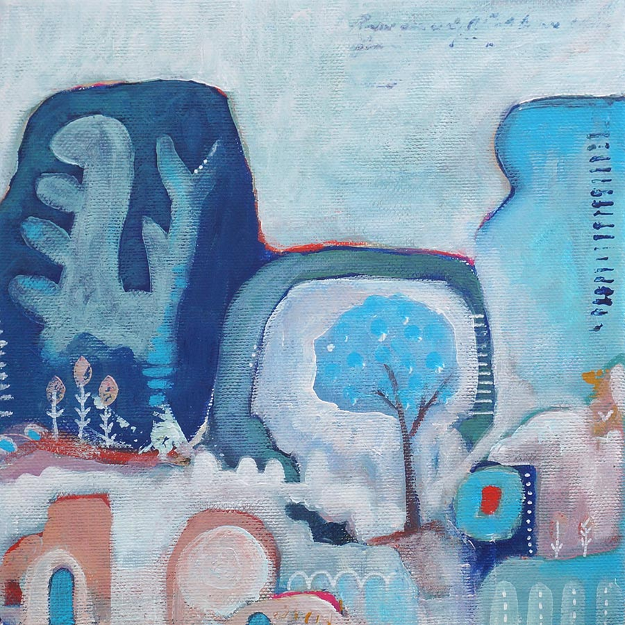 abstract schilderij landschap met rotsschildering