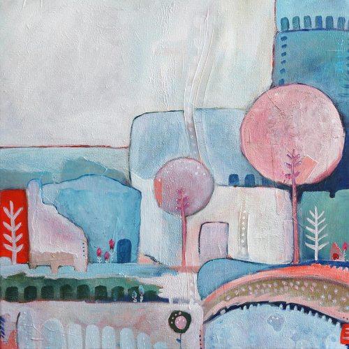Abstract schilderij landschap stad in blauw en roze