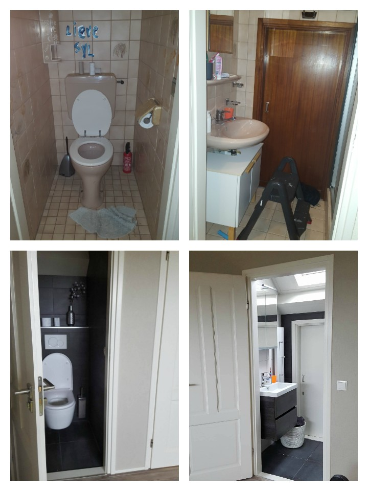 Fotojet collage nieuwe badkamer wc verbouwing antractiet