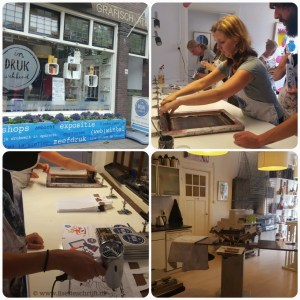 Atelier indrukwekkend Delft kinderfeestje zeefdrukken creatief poes dora the explorer cat Lisette Schrijft