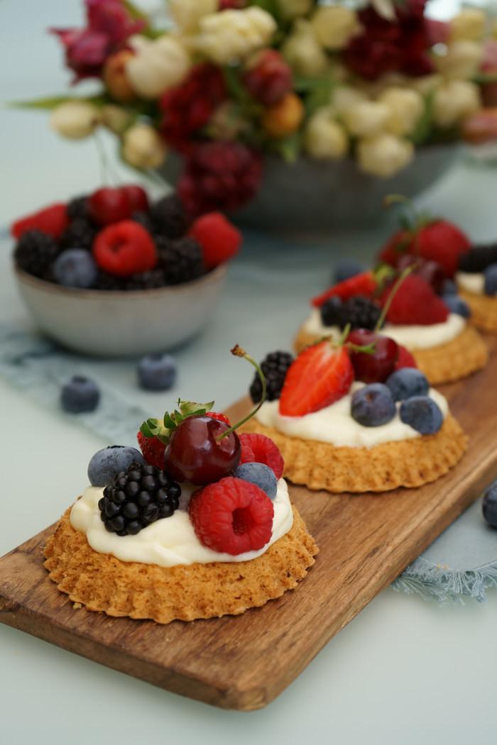 Früchtetartelettes mit Puddingcreme