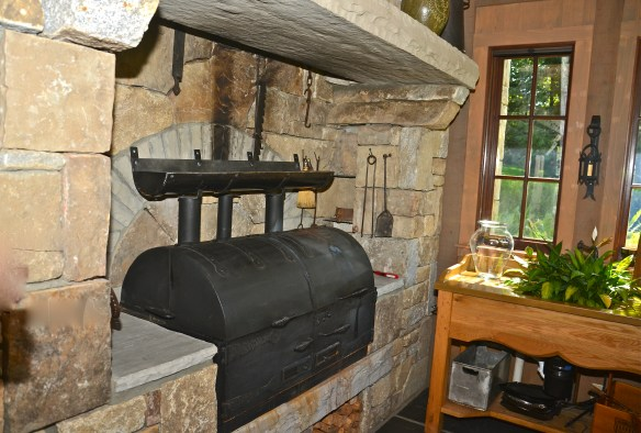 A closer look at the indoor grill–the stone is beautiful