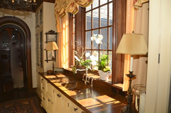 Morning sun steams through the amazing butlers pantry
