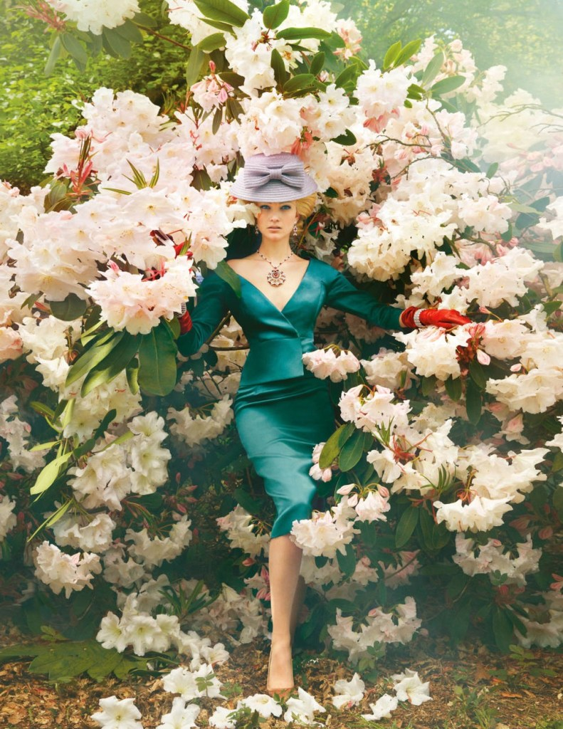 fashion model in the rhododendron