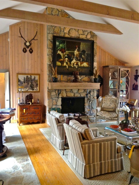 Lots of beautiful collections were in the living room—yellow tags mean sold