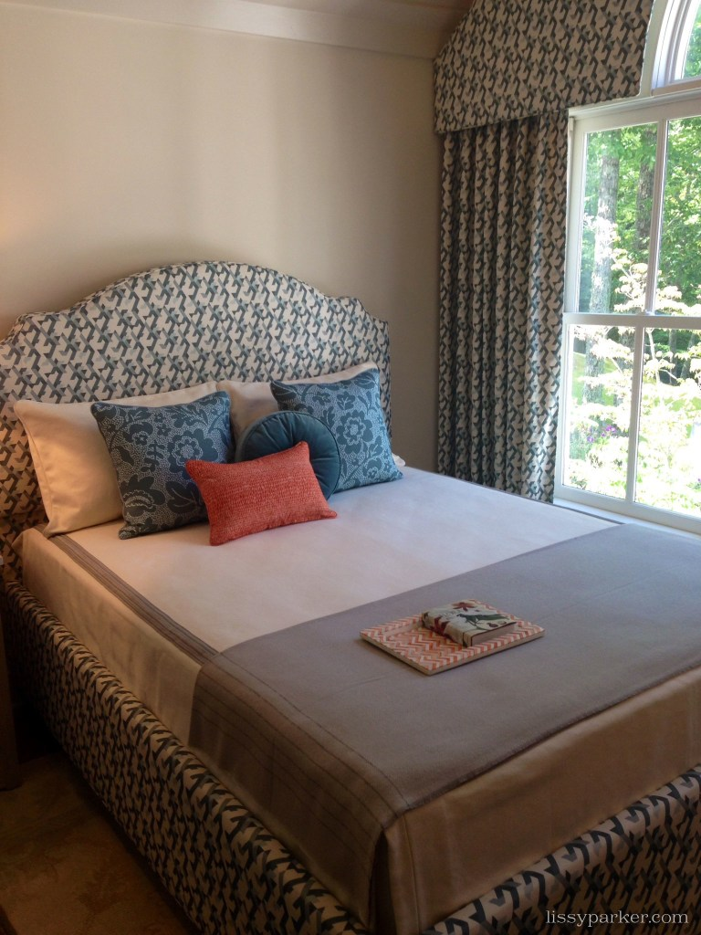 Creamy guest room overlooking Whiteside  mountain—too sunny to get a picture
