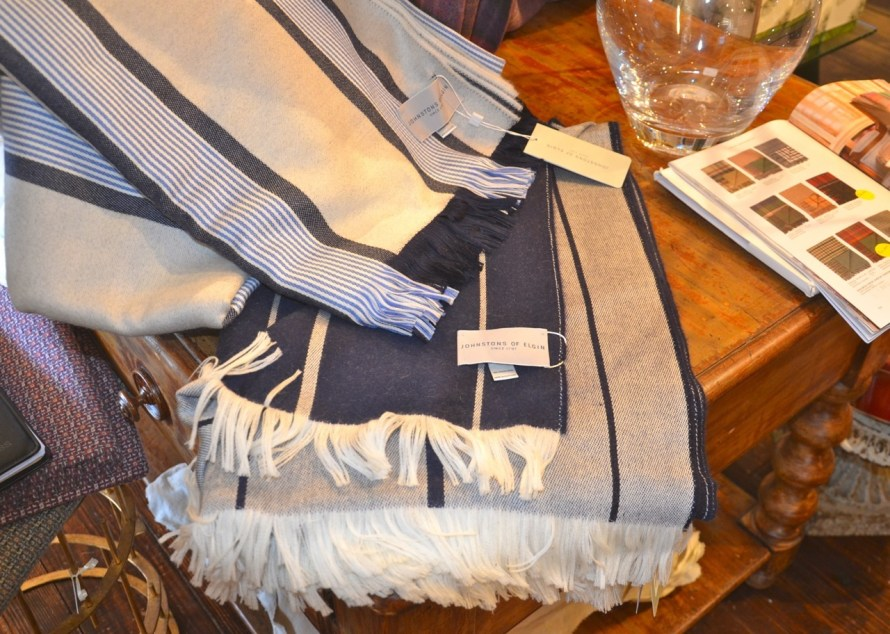 Blue and white wool throws—one of these came home with me