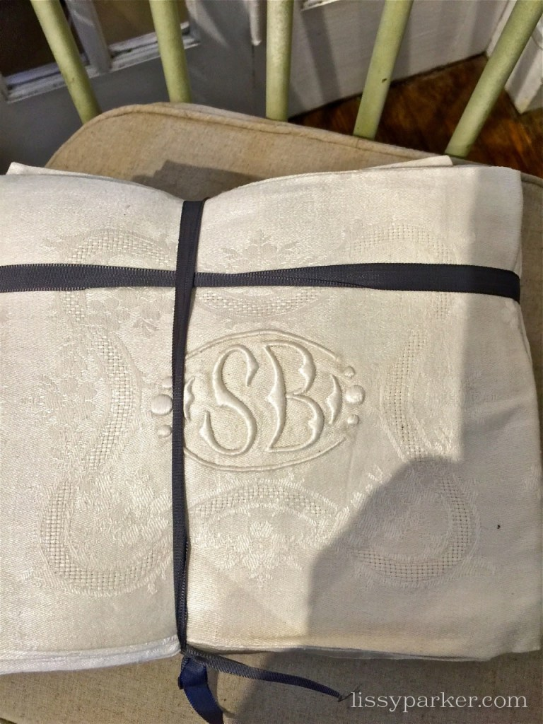 Monogrammed napkins and table clothes