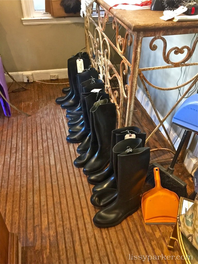 Rubber boots that look like riding boots—used in a French army movie