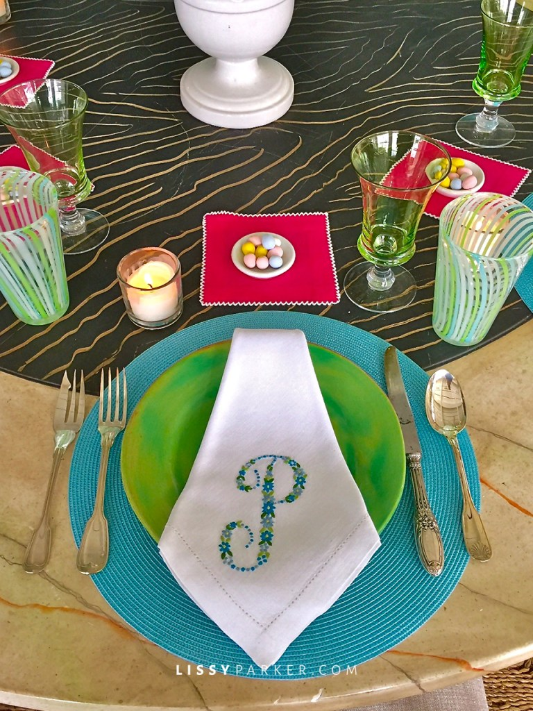 place mats and pink napkin from Erika Reade