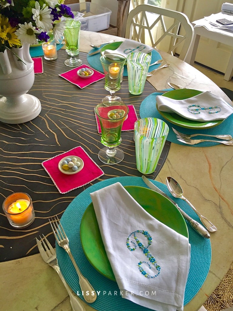 Table is ready for a happy Easter crowd—stem glasses from BD Jeffries